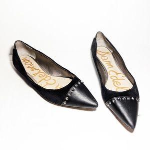 Sam Edelman   Black Studded Pointed Toe Flats